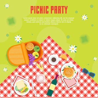 パークバスケットでの漫画の夏のピクニック。テキストの上面図を配置します。平らな