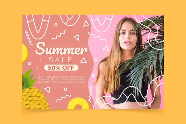 Modello dell'insegna di vendita di estate del fumetto con la foto