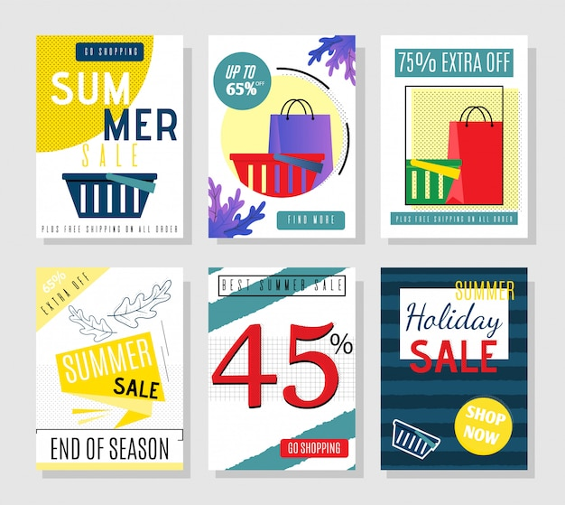 Cartoon summer sales cards and discount flyers for holiday set