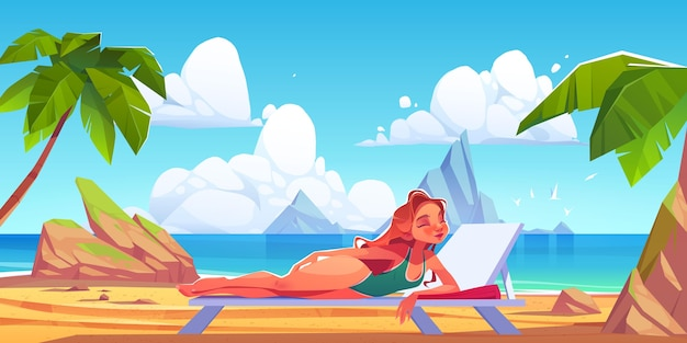 Cartoon summer scene illustration