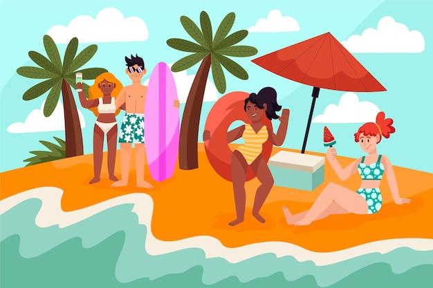 ビーチでの漫画の夏のシーン