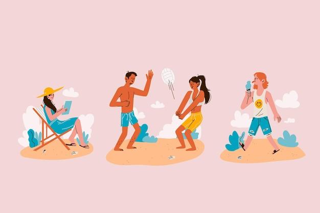 Коллекция мультяшных летних сцен