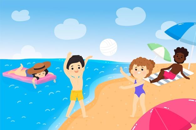 만화 여름 장면 그림