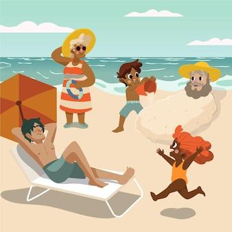 漫画の夏のシーンセット