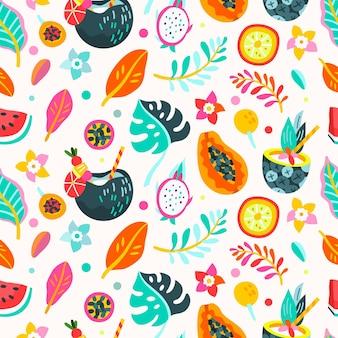 만화 여름 열대 패턴