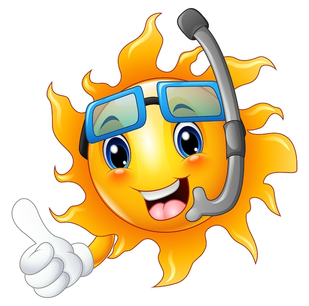 Cartoon sun character in diving mask giving thumbs up