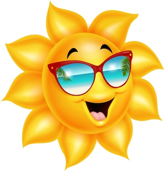 Cartoon sun character wearing sunglasses