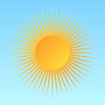 青い背景に分離された漫画の太陽。サンシャインデザイン。 。
