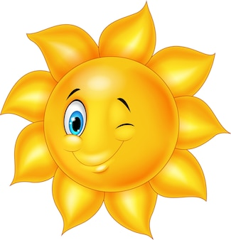 Cartoon sun with eye blinking
