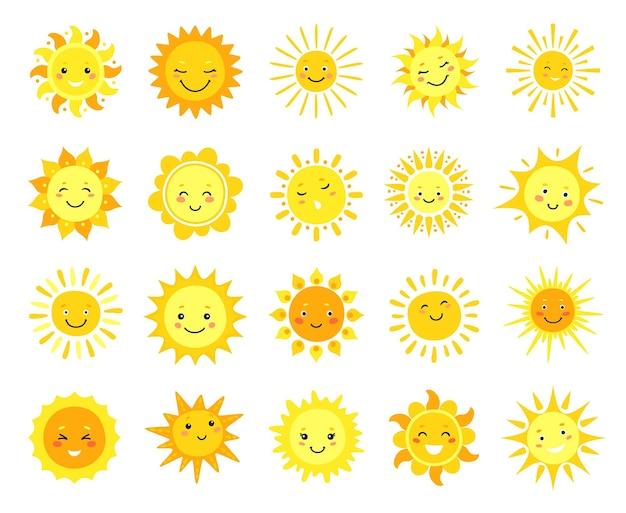 Cartoon sunny emoji, happy yellow sun character with smile, sunshine emoticon funny kawaii