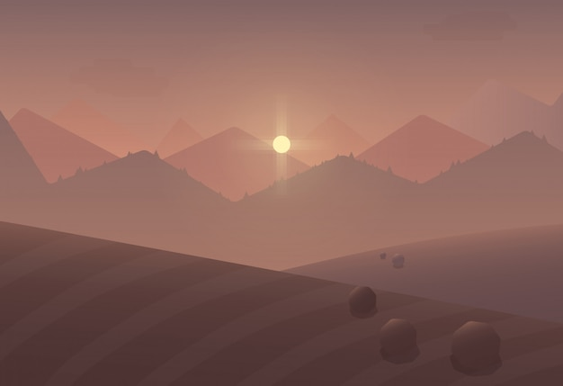 Cartoon sunset mountain landscape background