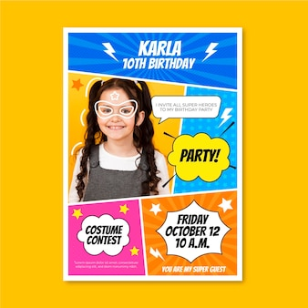 Шаблон приглашения на день рождения супергероя с фото