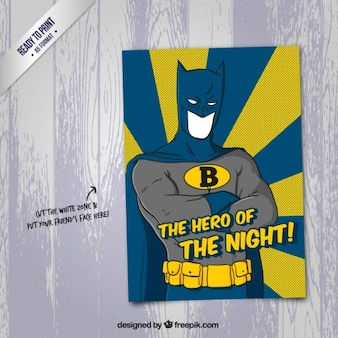 Cartoon superhero card in funny style