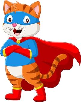 눈 마스크와 만화 슈퍼 히어로 고양이