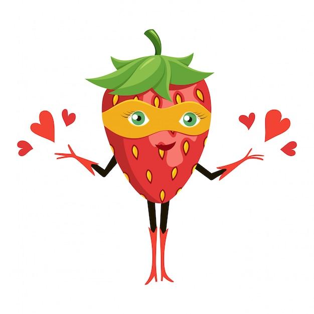 Cartoon superhero strawberry in orange mask