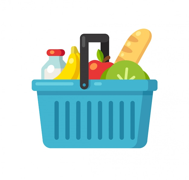 Cartoon supermarket basket icon with food.