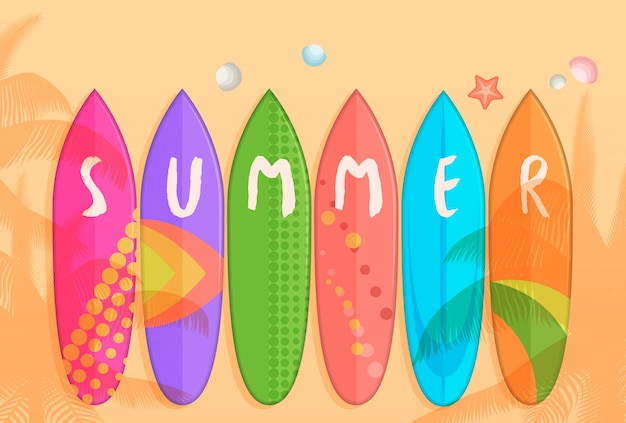 Cartoon surfboards on sand beach poster