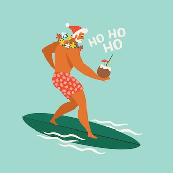 Cartoon surfer santa claus