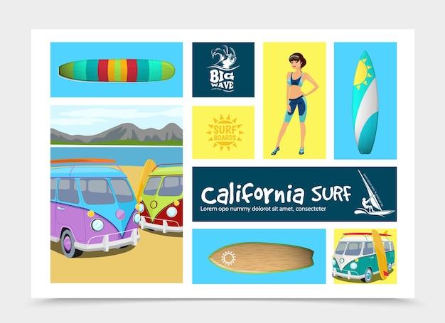 Composizione di elementi di surf del fumetto con i furgoni di spuma della ragazza del surfista di tavole da surf colorate sull'illustrazione del paesaggio della natura