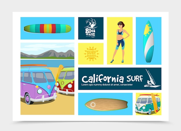 カラフルなサーフボードと漫画のサーフィン要素の構成は、自然の風景のイラストに女の子のサーフバンをサーファー