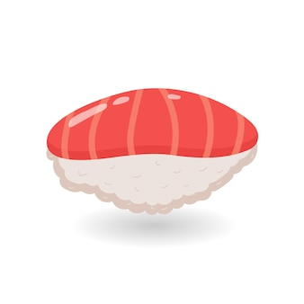 Cartoon sushi nigiri with rice and salmon