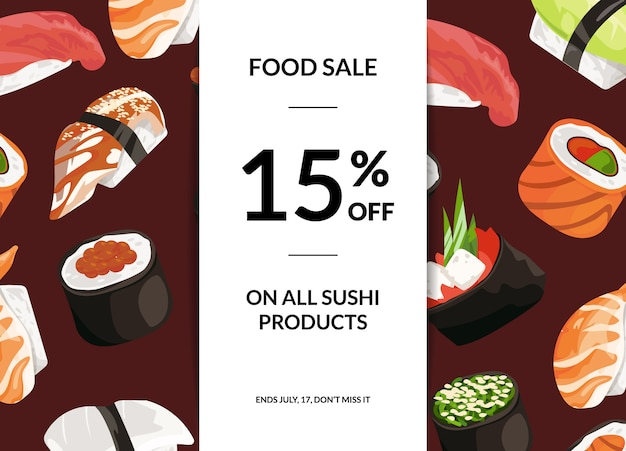 Cartoon sushi sale horizontal banner
