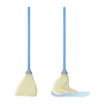 漫画綿棒株式ベクトルイラストモップは水たまりを拭くクリーニングサービス家庭の概念