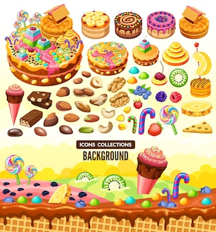 Cartoon sweet candy landscape and elements.