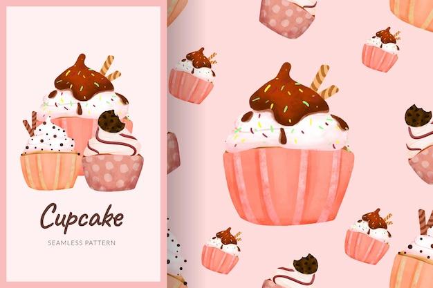 漫画の甘いカップケーキシームレスパターンイラストパステルカラー