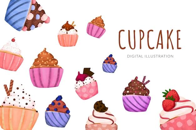 さまざまなフレーバーの漫画の甘いカップケーキイラストレイアウト構成のパステルカラー