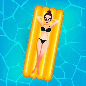 Cartoon sweet girl in sun glasses is floating on an inflatable mattress in the pool at villa