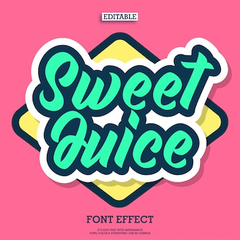 Cartoon sweet juice text with simple style