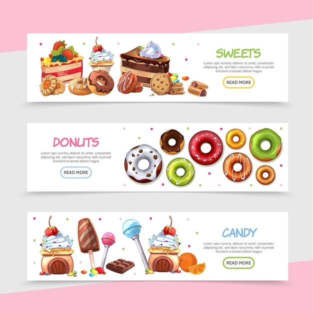 Cartoon sweet products horizontal banners with bright candies cakes ice cream chocolate bar