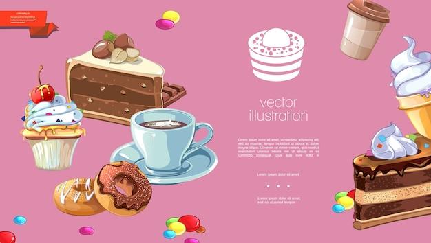 Шаблон мультяшных сладких продуктов