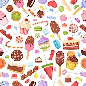 Cartoon sweets candies delicious desserts seamless pattern cupcake chocolate lollipop ice cream