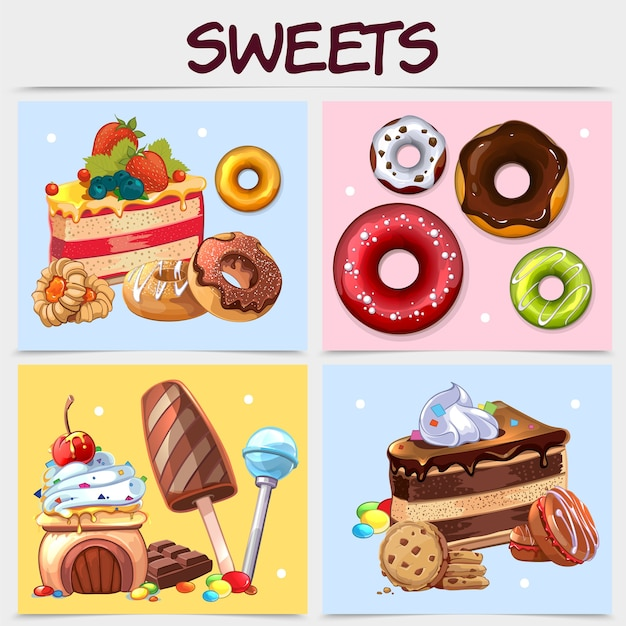 Cartoon sweets square concept