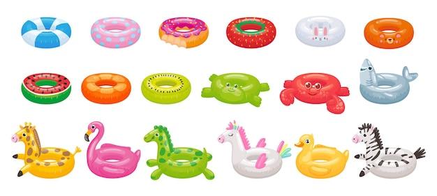 漫画の浮き輪。面白いフラミンゴ、サメ、ユニコーン、アヒルのフローティングリング。夏のプールのおもちゃイラストセット。