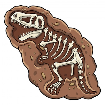 Cartoon t-rex dinosaur fossil