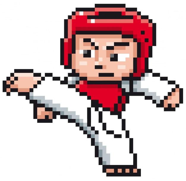 Cartoon taekwondo player - pixel design