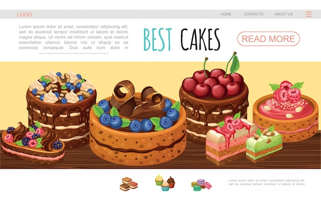Cartoon tasty cakes web page template with chocolate cream nuts blackberry raspberry blueberry