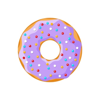 Мультфильм вкусный пончик на белом фоне. вид сверху на пончик глазированный фиолетовым цветом для украшения торта или дизайна меню. векторная иллюстрация плоский eps