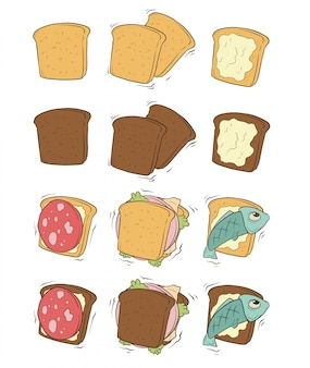 Cartoon tasty sandwiches with sausage and fish
