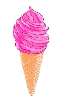Мультфильм вкусный вафельный мороженое конус, изолированных на белом фоне.