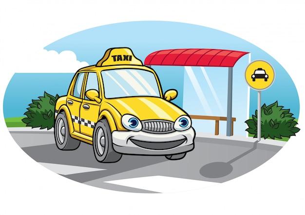 Cartoon of taxi car