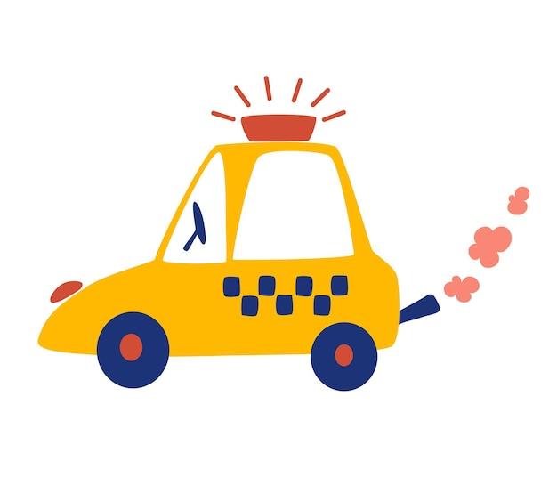 Мультяшное такси. желтая машина. городской транспорт. векторные иллюстрации в плоский, изолированные на белом фоне.