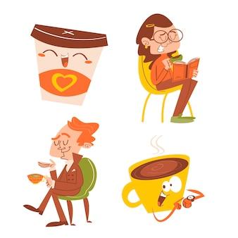 漫画のお茶とコーヒーのタイムステッカーパック