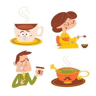 漫画のお茶とコーヒーのタイムステッカーセット
