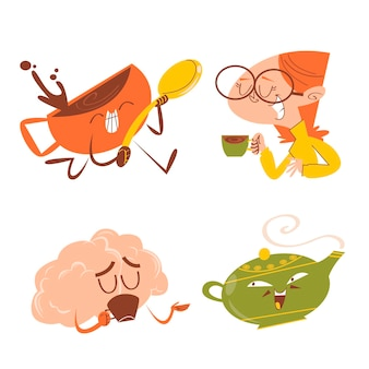 Adesivi per l'ora del tè e del caffè dei cartoni animati