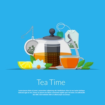 Cartoon tea kettle and cup in paper pocket illustration