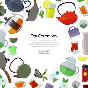 Cartoon tea kettles and cups background with place for text